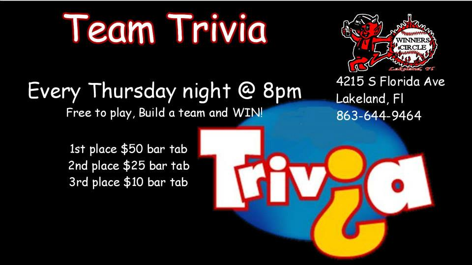 Thursday Night Team Trivia at Winners Circle South 8pm – 10pm