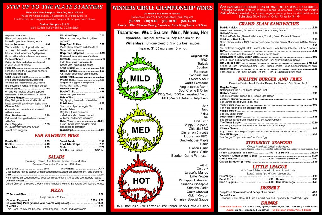 Winners Circle Sportsbar - Lakeland - Menu