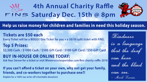 Sat. Dec. 15th - Fins Charity Raffle 2018
